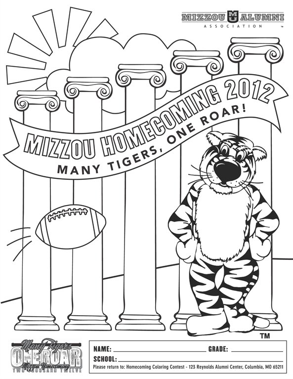 Mizzou Football Coloring Pages Sketch Page