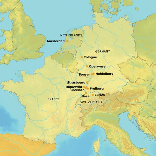Mizzou Alumni Association Cruise The Rhine River - Rhine valley germany map