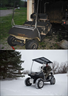 "This cart was in a fire at a golf couse and only the bottom shell survived. Rebuilt and painted the Tiger Cart. 9"" lift and 25 inch tires.