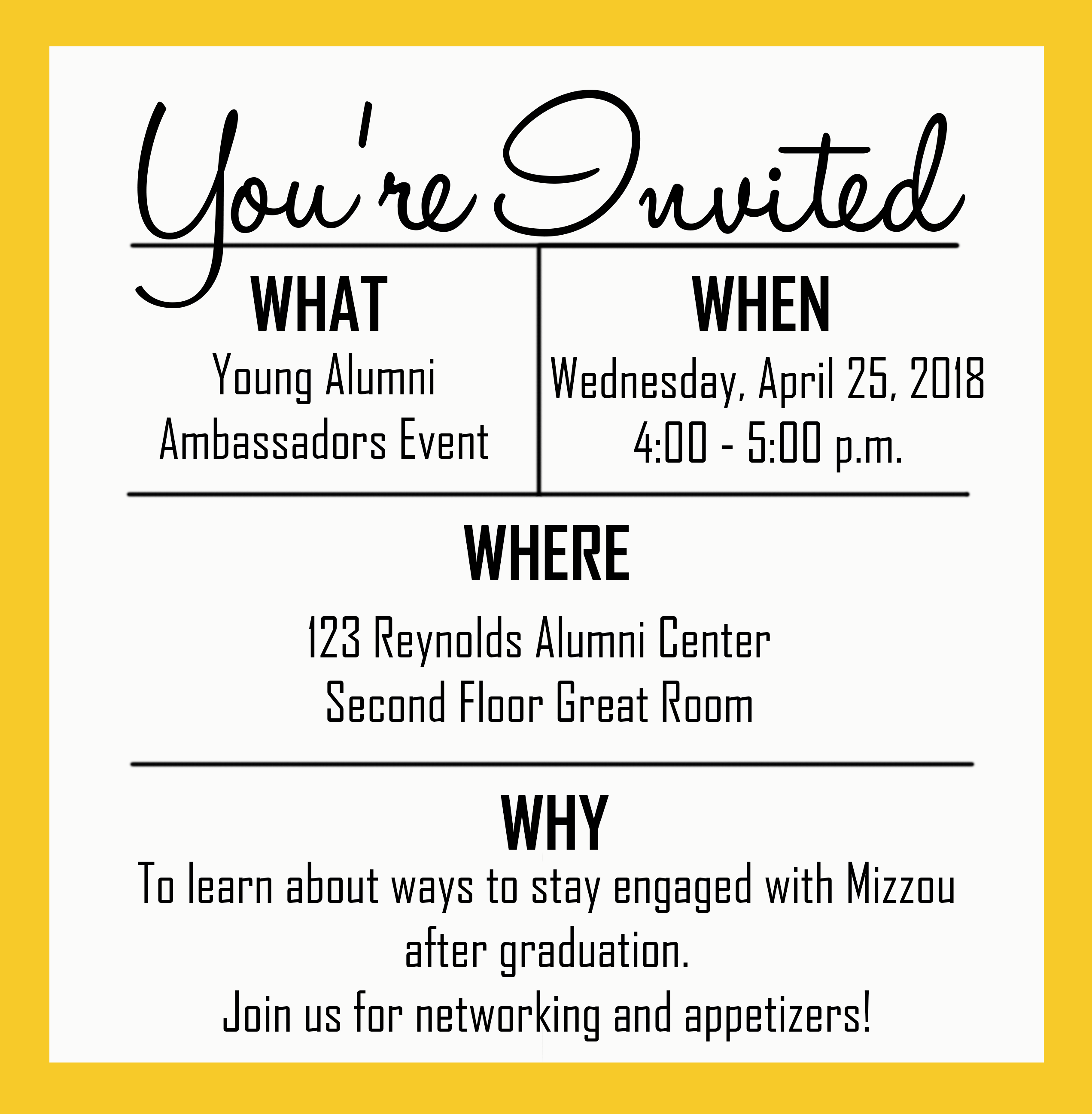 Mizzou Alumni Association Young Alumni Ambassadors Event